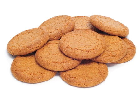nutritive: a pile of digestive biscuits on a white background