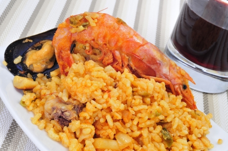 closeup of a plate of typical paella from Spain photo