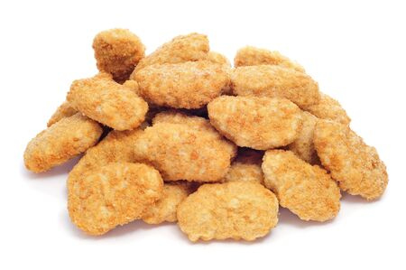 breading: a pile of chicken nugget on a white background