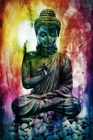 budha: textured background with the image of buddha