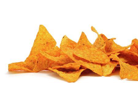 a pile of nachos on a white background photo