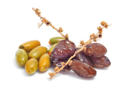 dates fruit: a pile of dates on a white background
