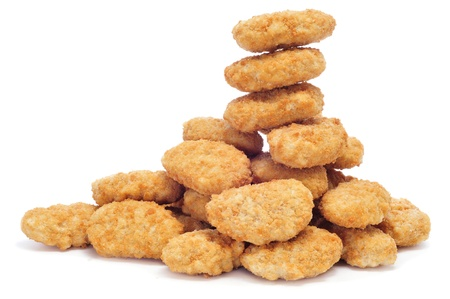breading: a pile of chicken nuggets on a white background