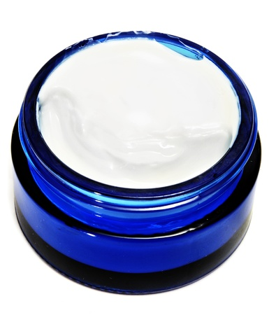 ointment: a blue cosmetic jar on a white background