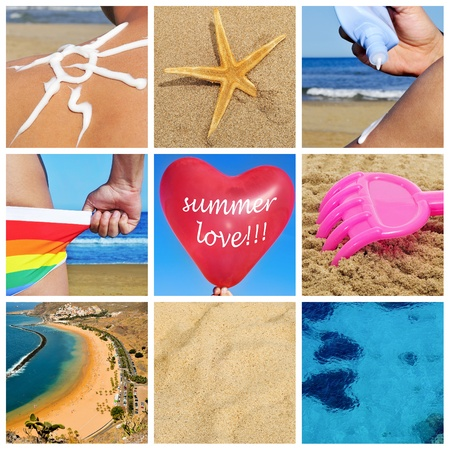 heart in sand: a collage of nine pictures of many beach items and scenes