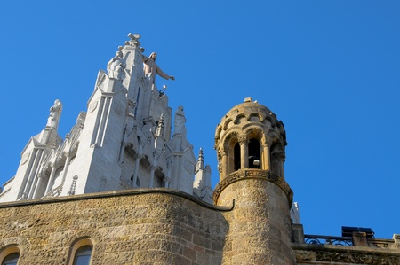 cor: Detail of Sagrat Cor church, in Tibidabo, Barcelona, Spain