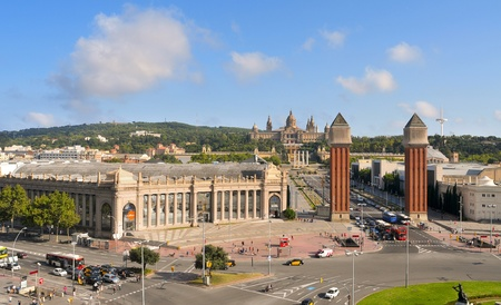 Barcelona, Spain - August 18, 2011: Palau Nacional de Montjuic and Fira in Barcelona, Spain. This area, built to house 1929 International Exposition, is a tourist attraction in the city