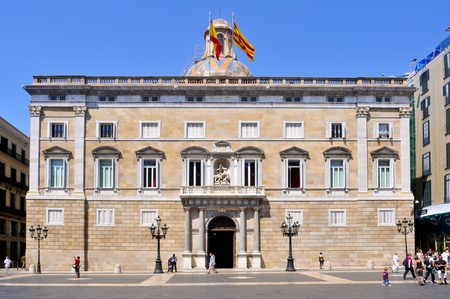 generalitat: Barcelona, Spain - August 16, 2011: Generalitat of Catalonia Palace in Barcelona, Spain. This palace, in Sant Jaume square, houses the offices of the Presidency of the catalan government