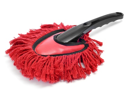 remover: a red duster on a white background Stock Photo