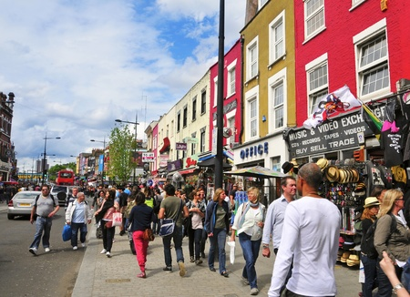 bric: London, United Kingdom - May 8, 2011: Camden Street in London, UK. Camden Market and streets nearby are the fourth-most popular visitor attraction in London, attracting approximately 100,000 people each weekend