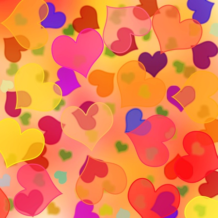love wallpaper: background with hearts of different sizes and colors Stock Photo