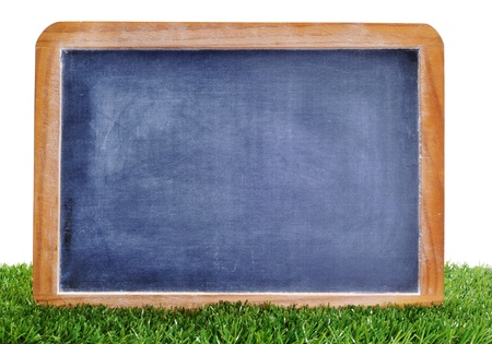 a blank blackboard on the grass to insert such as soccer matches or scores Stock Photo - 10453749
