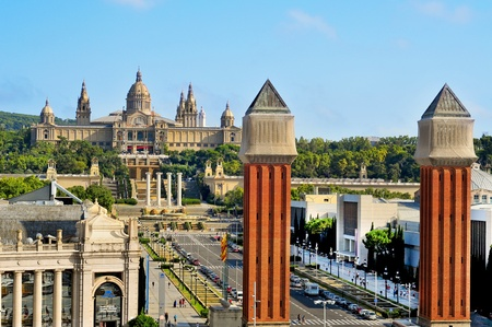 montjuic: Barcelona, Spain -  August 18, 2011: Palau Nacional de Montjuic and Fira in Barcelona, Spain. This area, built to house 1929 International Exposition, is a tourist attraction in the city