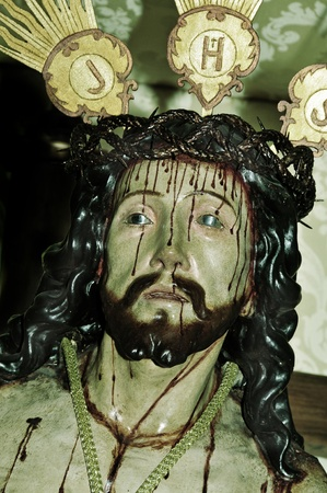 crown of thorns: closeup of a figure of Jesus Christ