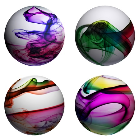 flowed: spheres with smoke of different colors on a white background