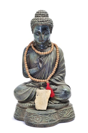 buddhism prayer belief: A image of buddha with offerings on a white background Stock Photo
