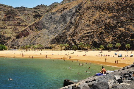 cove: Tenerife, Spain - June 23, 2011: Teresitas Beach in Tenerife, Spain. This is the nearest beach to Santa Cruz, capital of Tenerife, and one of the few in the North-East of the island Editorial