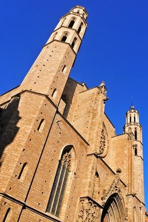 gothic window: Facade of Santa Maria del Mar Church in Barcelona, Spain