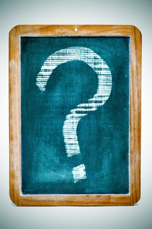 interrogatory: a question mark drawn in an old fashioned blackboard