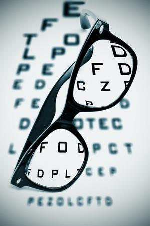 eyeglasses over a blurry eye chart photo