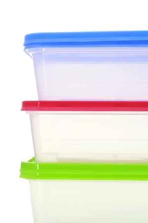 cooking ware: closeup of some plastic containers of different colors