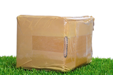 a package on the grass on a white background photo