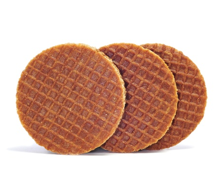 dutch typical: some stroopwafels on a white background