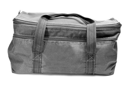 a gray multipurpose handled bag on a white background photo