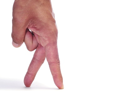 simulating: a man hand with its fingers simulating someone walking or running