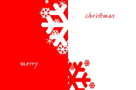 x mas card: merry christmas written in a red and white background with snowflakes Stock Photo