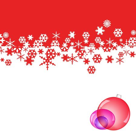 crystallization: red and white background with snowflakes and christmas balls