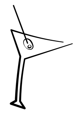 martini glass: an illustration of a cocktail glass with an olive