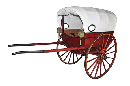 light brown horse: an old carriage with two wheels Stock Photo