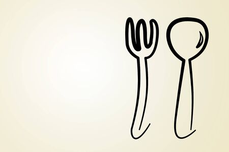 illustration of a fork and a spoon on a gradient background illustration