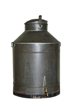 an old liquid tank on a white background photo