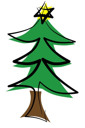 illustration of a christmas tree with a christmas star in the top illustration