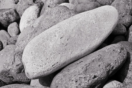shingles: closeup of a pile of black volcanic pebbles Stock Photo