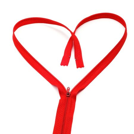 haberdashery: a red zipper forming a heart on a white background