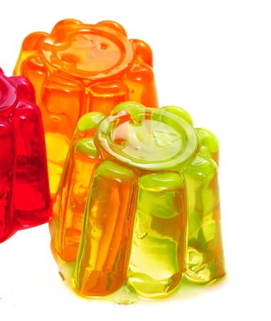 gelatin: closeup of gelatin of different colors on a white background Stock Photo