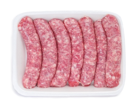 llonganissa: packaged sausages on a white background Stock Photo