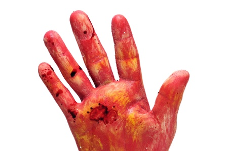 an scary and bloody hand for Halloween on a white background photo