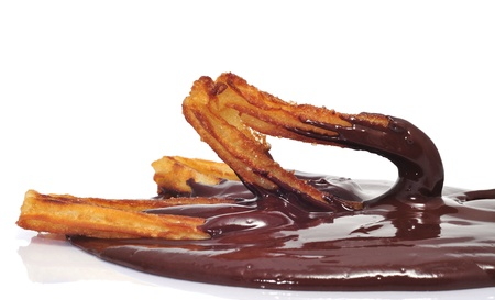 churros con chocolate, a typical Spanish sweet snack photo