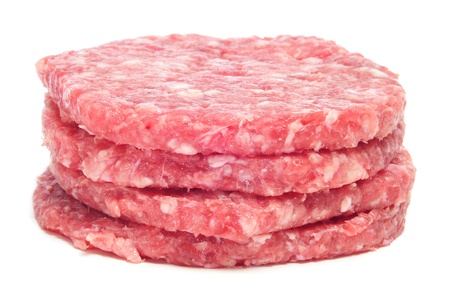 a pile of raw burgers on a white background photo