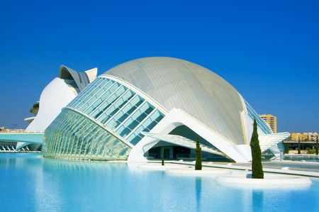 hemispherical: Valencia, Spain - March 17, 2010: Hemisferic in The City of Arts and Sciences of Valencia in Valencia, Spain. This futuristic building was designed by famous architect Santiago Calatrava Editorial