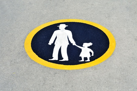 way for pedestrians, father with child traffic sign on asphalt photo