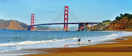 bay: A view of Golden Gate Bridge from Baker Beach in San Francisco, United States