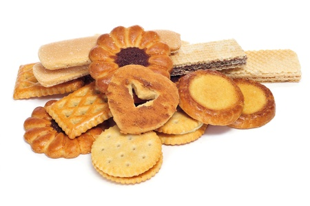 closeup of a pile of  different biscuits photo