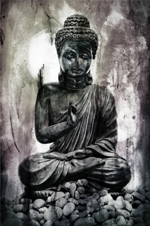 image of buddha and stones on a faded background photo