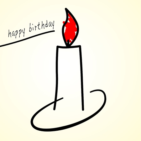 lit candles: illustration of a candle and sentence happy birthday Stock Photo