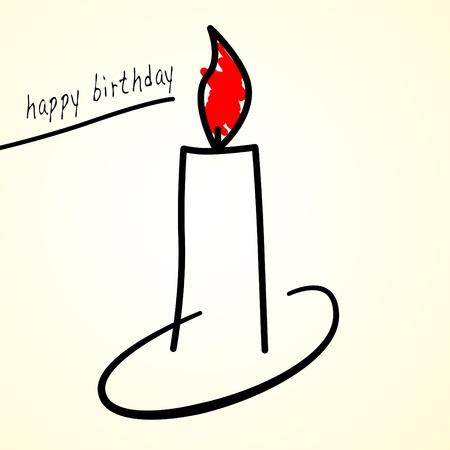 oracion: ilustraci�n de una vela y el cumplea�os feliz frase, Foto de archivo